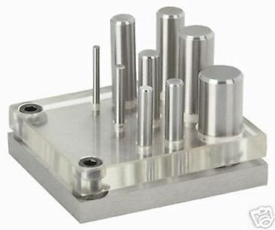 New 9 Pc Punch And Die Set - Alloy Steel + Case Clear Plate For Easy Alignment