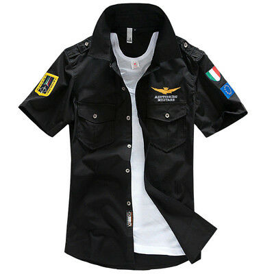 Fashion Men's Army Military Casual Shirt Short Sleeve Military Style Shirts