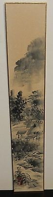 Japanese Watercolor Landscape Village Painting Signed