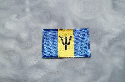 Patch Country Flag Sew On Iron On Jacket Shirt or Pants Barbados Color
