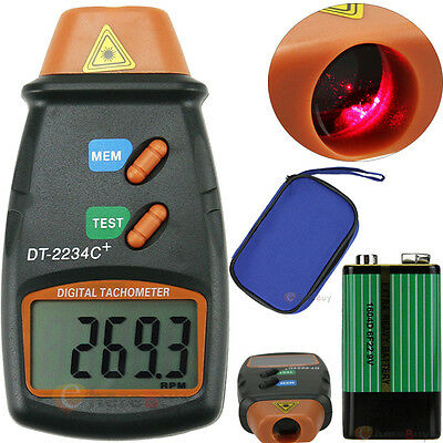 Handheld Digital Photo Laser Tachometer Non Contact Tach Tool RPM Tester + BTY