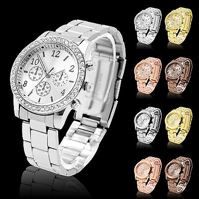 Ladies Women Crystal/diamond Stainless Steel Girl Quartz Wrist Watch Bracelet