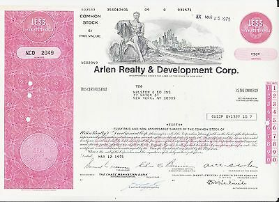 Share Certificate - Scripophily - Arlen Realty and Development  Corp
