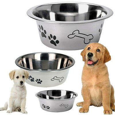 Stainless Steel Metal Dog Bowl Anti Skid Embossed Feed Station Paw Bone Design