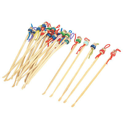 20pcs Bamboo Japanese Doll Ear Wax Pick Spoons Earwax Remover Earpick Cleaner
