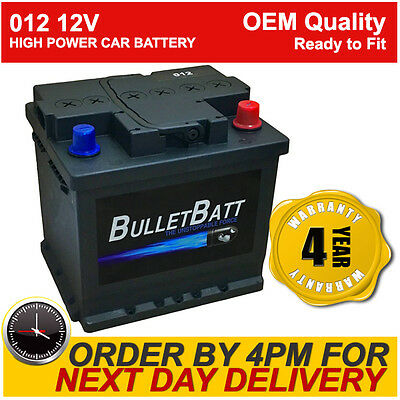 Type 012 12V Car Battery BulletBatt 4 Years Wty OEM Replacement