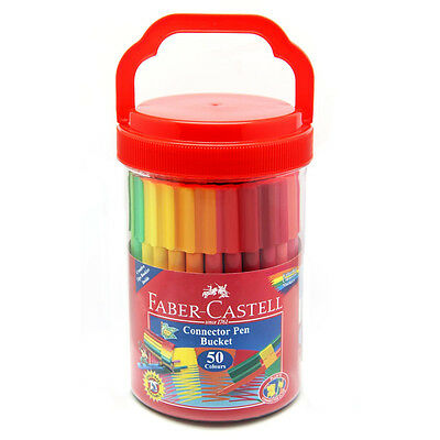 Faber Castell Set of 50 Connector Pens in Storage Bucket. Artist & Craft Markers