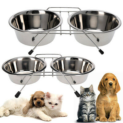 Stainless Steel Pet Feeding Bowl Double Diner Dog Cat Food Station Water Dish