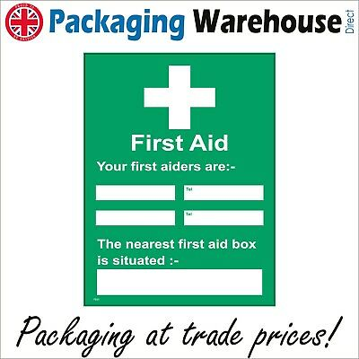 A4 FIRST AID LOCATION INFO 210 x 297mm HEALTH AND SAFETY SIGN RIGID WATERPROOF