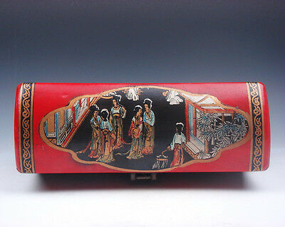 Red Leather Finish Palace Ladies Hand Painted EXTRA LARGE Jewelry Box #01071602