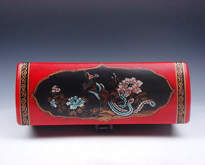 Red Leather Finish Phoenix Floral Hand Painted EXTRA LARGE Jewelry Box #01071601