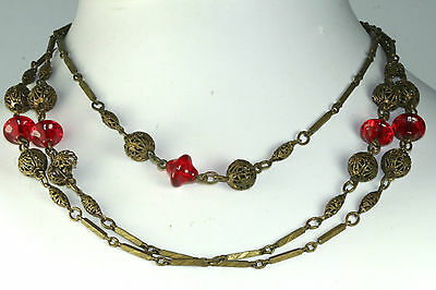 Antique Art Deco 56 Inch Brass Filigree Red Glass Long Flapper Necklace