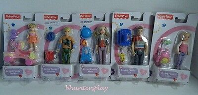 VHTF Fisher Price LOVING FAMILY Dolls Set of 5 Figures and Accessories Mattel