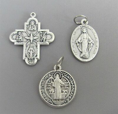 Lot 3 LARGE Charms Holy Medal ITALY  Saint St. BENEDICT 4 (four) WAY Miraculous