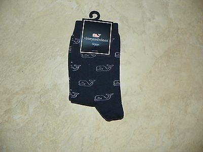 Vineyard Vines Kids  Girl's Nautical Navy Classic Whale Socks Sz 12 to 5 1/2