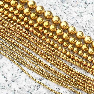 2-12mm Gold Plated Hematite Round Loose Beads 15""