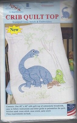 """1 Jack Dempsey """"Dinosaurs"""" Stamped Cross-Stitch-Embroidery Crib Quilt Top"""