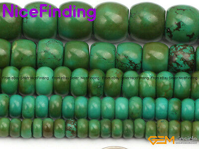 """Natural Green Old Turquoise Rondelle Spacer Stone Beads For Jewelry Making 15"""""""