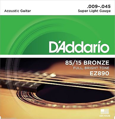 D'Addario EZ890 Super Light 9/45 Acoustic Strings Light Feel, Big Projection.