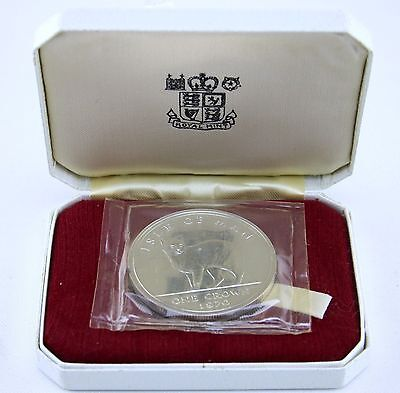 1970 Isle of Man Silver Proof Crown Tail less Manx Cat Queen Elizabeth II Cased