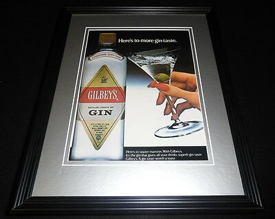 1984 Gilbey's Gin Framed 11x14 ORIGINAL Vintage Advertisement B