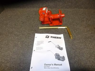 New THERN Hand Winch 1000lb Cap. Worm Gear