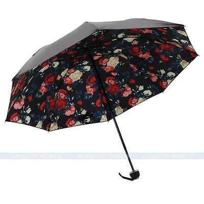 Compact Women Mini Compact Windproof Anti UV/Sun/Rain Brolly Umbrella-Rose