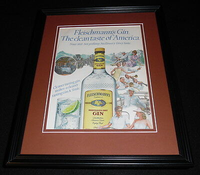 1984 Fleischmann's Gin Framed 11x14 ORIGINAL Vintage Advertisement