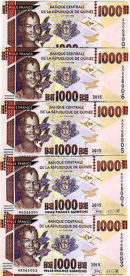 LOT Guinea, 5 x 1000 francs, 2015, Pick New, UNC > Redesigned