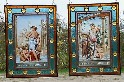 Leaded Glass 2 Window Pictures Stained Chromolithografie Architecture Motifs