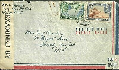 Censor mail from curacao to brooklyn new york 1943 cover WWII air mail