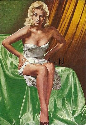 Org Vintage Italian 1950s-70s Artistic Pinup Card- Semi Nude Blond in Lingerie