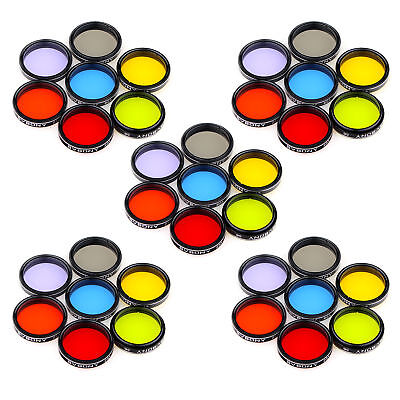 "5X 1.25"" Eyepiece Filter Set Colored Planetary & Moon Filters Kit Accessory US"