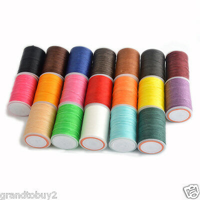 19 Colors 85yrd x0.65mm Round Leather Sewing Waxed Thread F Chisel AWL Upholster