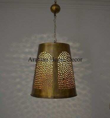 Middle Eastern Egyptian Moroccan Oxidized Gold Brass Hanging Lamp Lantern Light