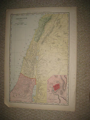Huge Folio Size Antique 1898 Palestine Israel Jerusalem Map Lebanon Beirut Fine