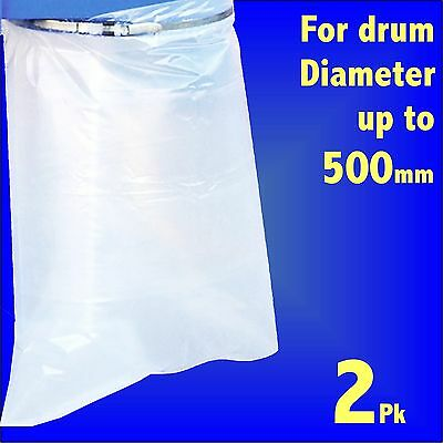 2x Polythene Collection Bag 32x43 fr Charnwood Fox SIP Dust Extractor 500mm Drum