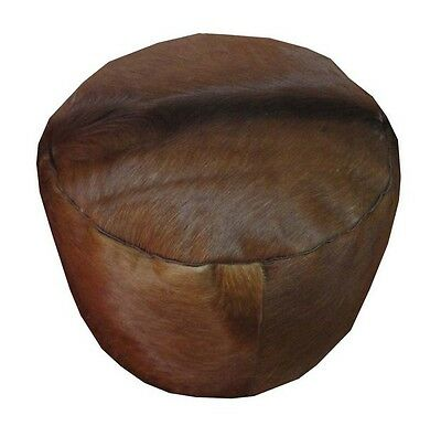 Handcrafted Cowhide Leather Filled Round Brown Moroccan Ottoman Pouf Footstool