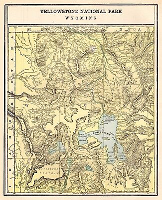 1902 Antique YELLOWSTONE National Park Map Original Wyoming Map   #2533