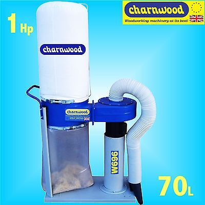 Charnwood W696 240v 1Hp 70 Litre Portable Dust Extractor with Floor Sweeper