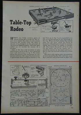 Bagatelle Rodeo Game 1952 HowTo build PLANS Table Top Pinball