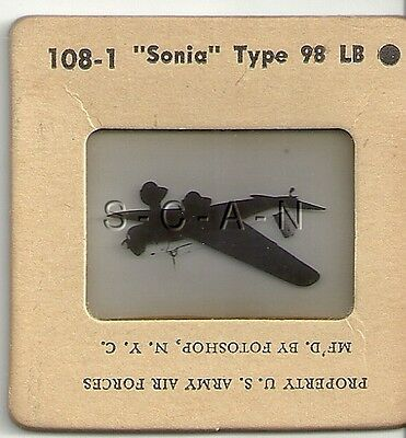 WWII US Recognition 35mm Slide Negative- Airplane Sonia Type 99 Mitsubishi Ki-51