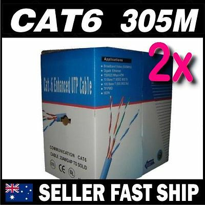 2x 305m Cat 6 CAT6 Solid Blue Ethernet Network Home Cable Boxed ** Free Ship **