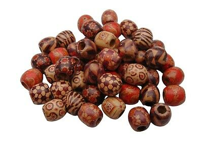 20 x Mixed Painted Wooden Drum Beads 17mm Beads Jewellery Ethnic Craft V16