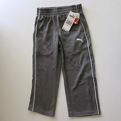 NWT Puma -4- Little Kids Gray Pull On Long Pants Soccer Gym Play Boys Girls