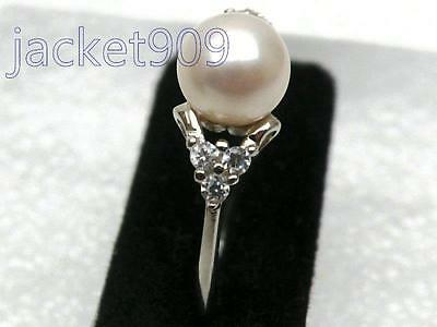 BEAUTIFUL 7.5mm AAA+++ perfect round white akoya pearl ring sterling silver gift