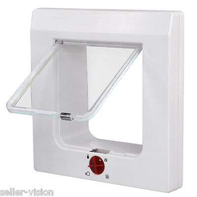 White Magnetic 4 Way Locking Pet Cat Kitten Flap (60mm) for Front/Back Door