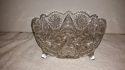 """Antique: Cut Crystal - 4.25"""" x 8"""" FOOTED FRUIT BOWL    K90"""