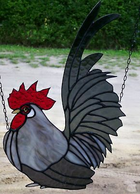 LEADED GLASS WINDOW Image chabo- Rooster Black/Silver in Tiffany