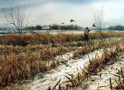 Two of Em Pheasant Hunting Print By Noel Dunn Signed and Numbered 21.5 x 15.5